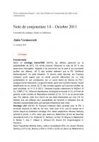 Note de conjoncture 14 11/10/2011