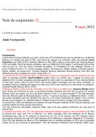 Note de conjoncture 22 - 9 mars 2012