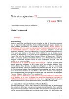 Note de conjoncture 23 - 23 mars 2012
