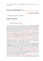 Note de conjoncture 24 - 10 octobre 2012