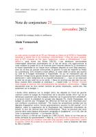 Note de conjoncture 25 - novembre 2012