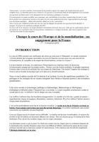 Convention nationale - Changer l'Europe et la mondialisation - Avant-projet du comité du projet sur les questions du monde
