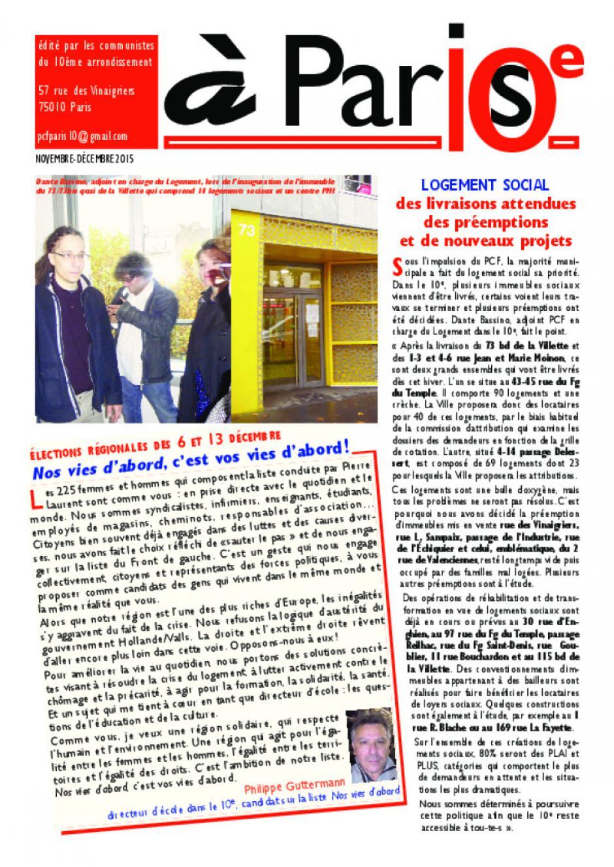 JOURNAL DE LA SECTION DU 10e : A Paris 10e