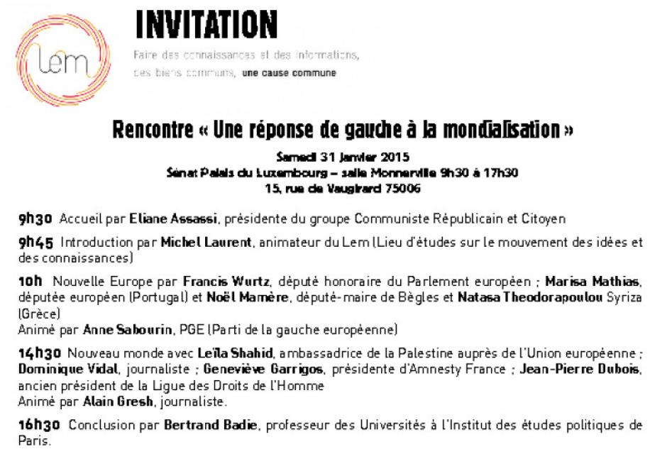 Rencontre « Une réponse de gauche à la mondialisation »