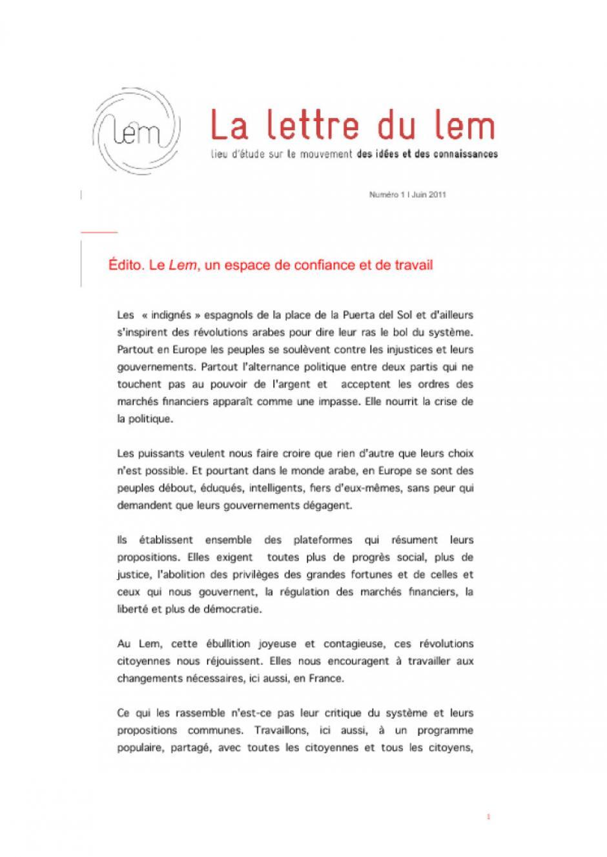 La lettre du lem - Numéro 1 - Juin 2011