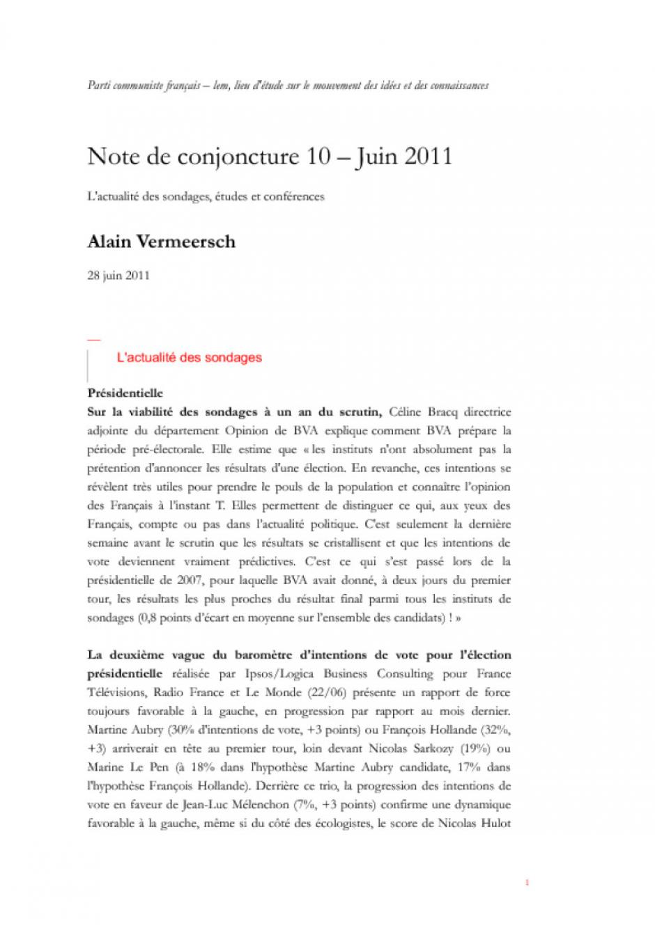 28/06/2011 - Note de conjoncture 10