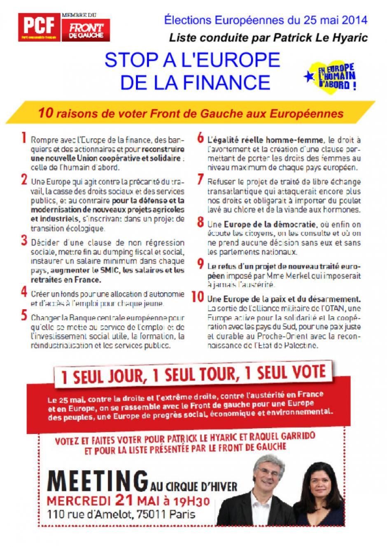 10 raisons de voter Front de Gauche aux Européennes